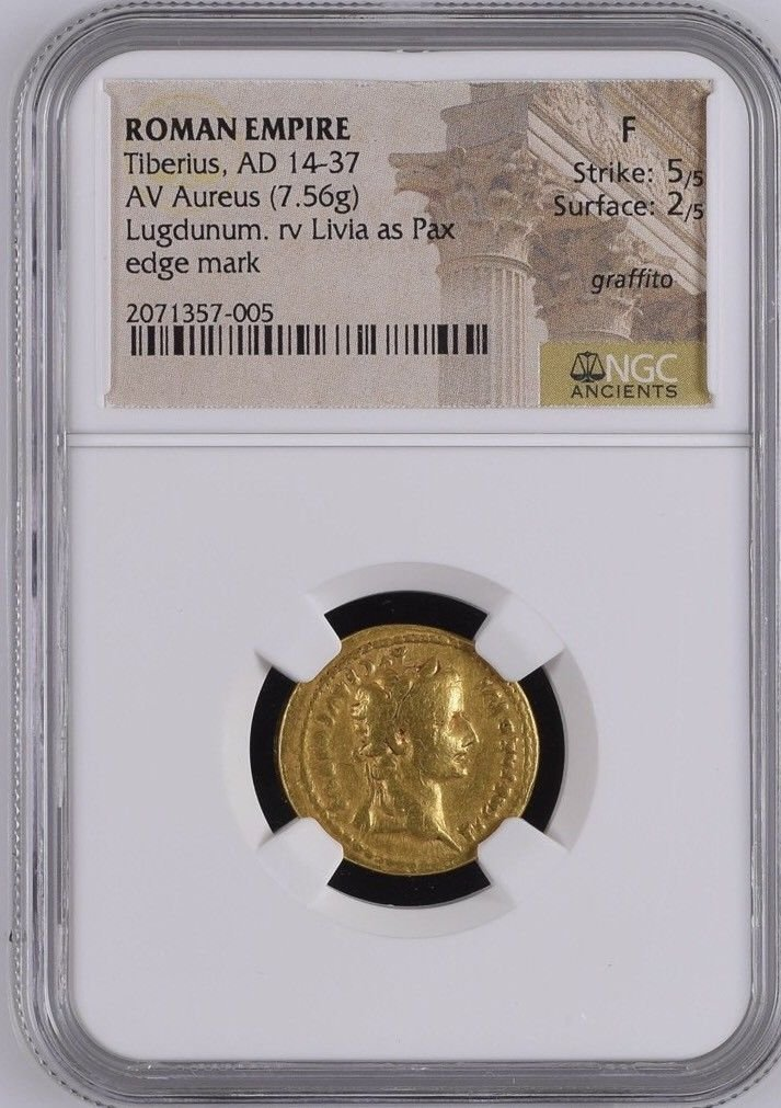 Ancient TIBERIUS, A.D. 14-37. AV gold Aureus coin