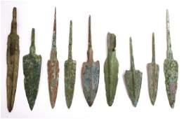 Lot of 9 Ancient Luristan Bronze Arrow Points c1000 BC
