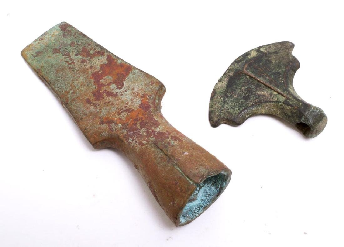 Lot of 2 Ancient Near Eastern Bronze Axe c.1000 BC - 2