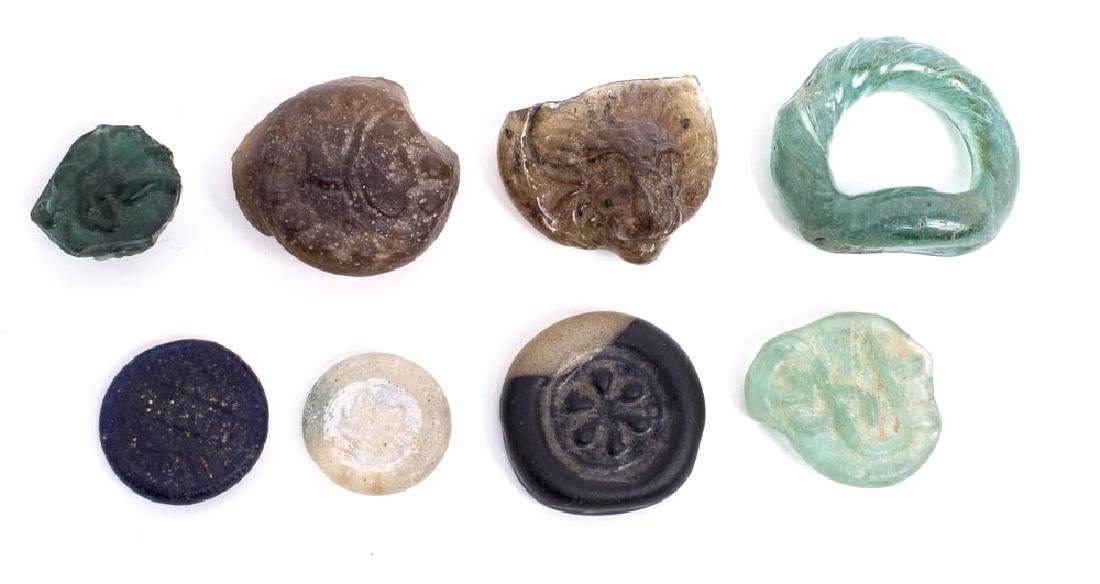 Lot of 8 Ancient Roman/Islamic Glass weights and ring