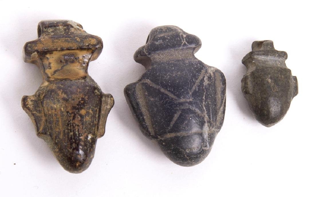 Lot of 3 Ancient Egyptian Stone Heart Amulets c.700 BC