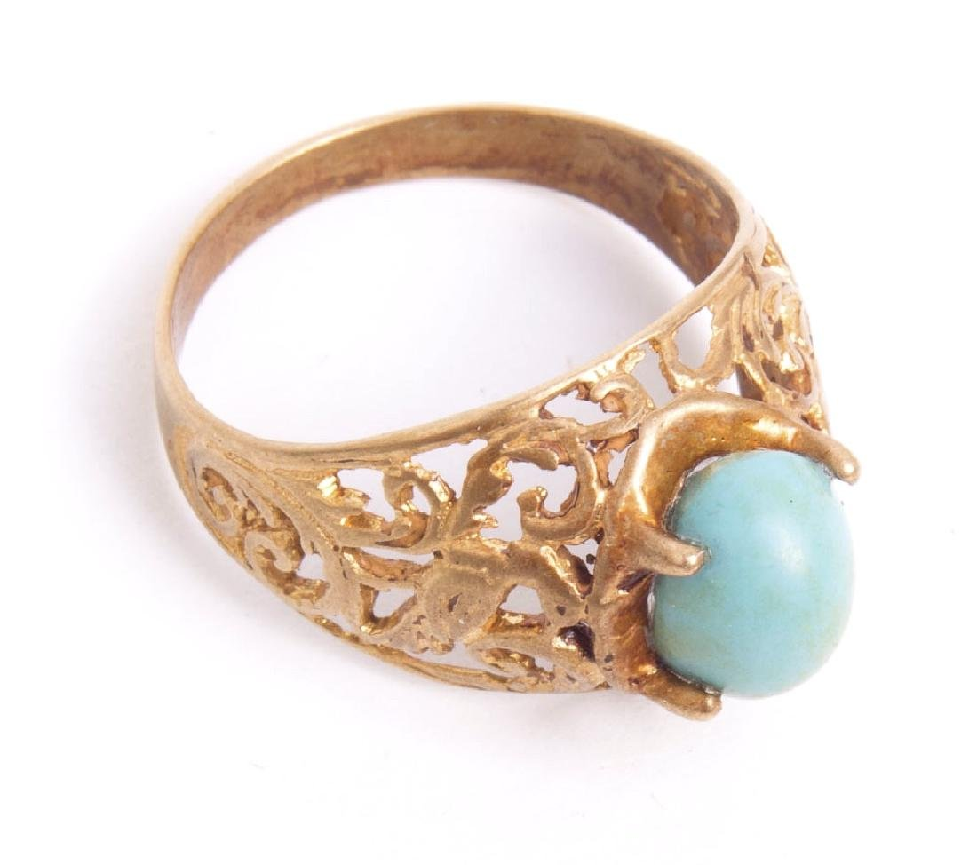 19th cent Qajar Persian Gold ring with turquoise stone