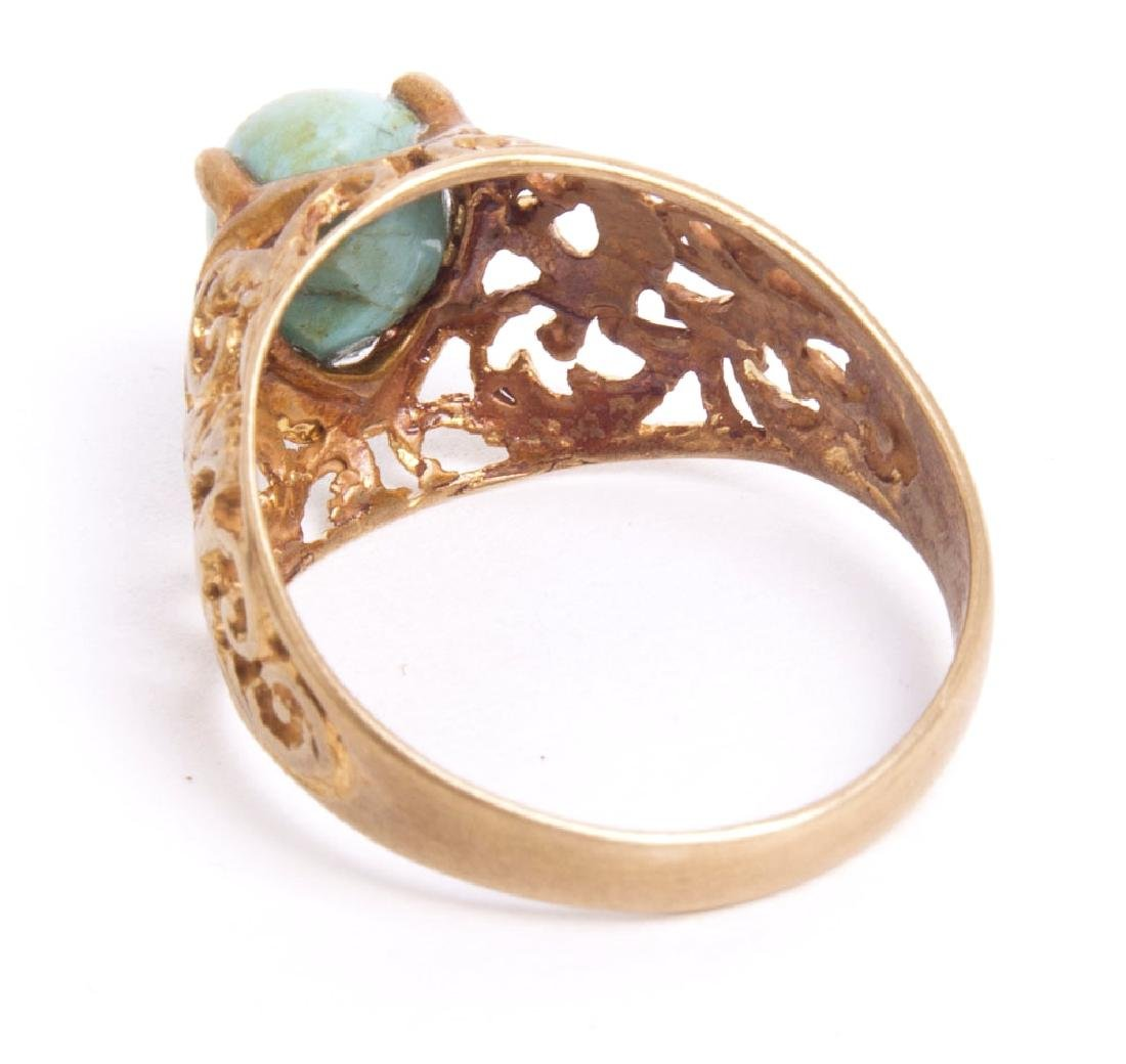 19th cent Qajar Persian Gold ring with turquoise stone - 2