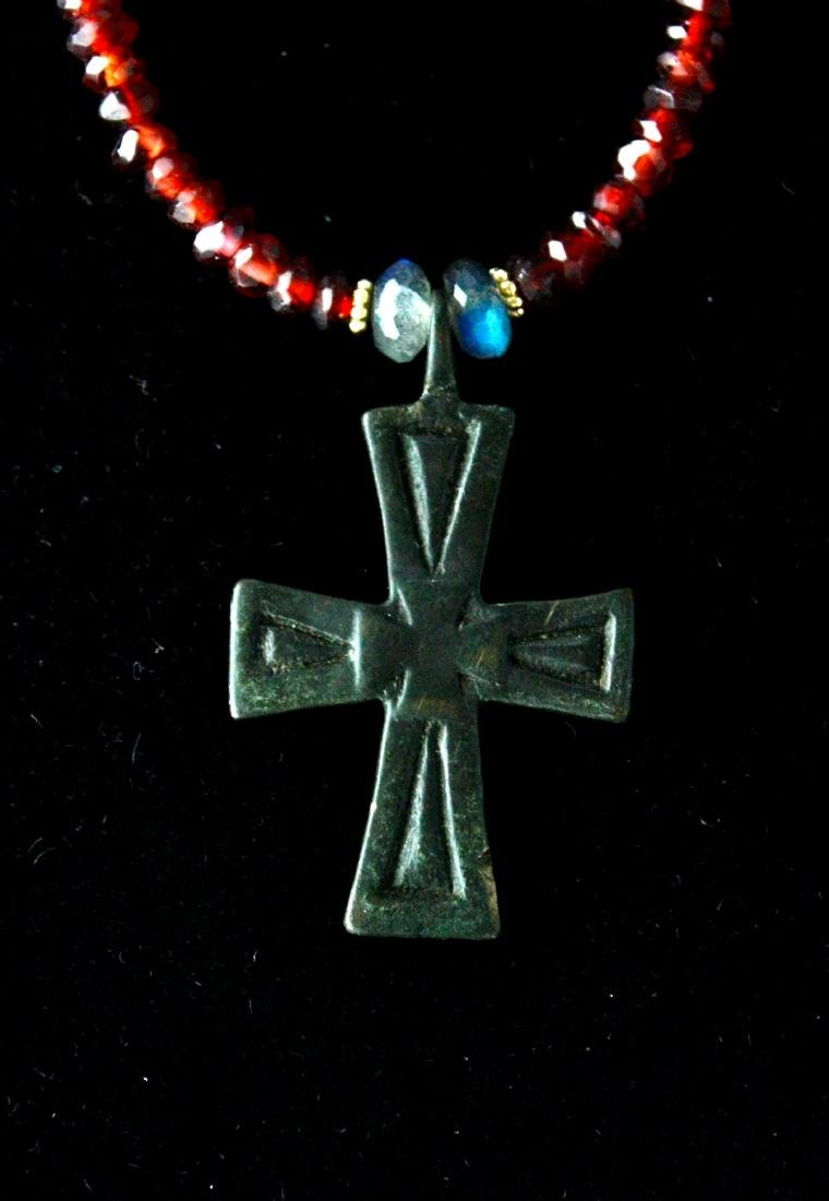 Ancient Byzantine Bronze Cross Necklace - 2