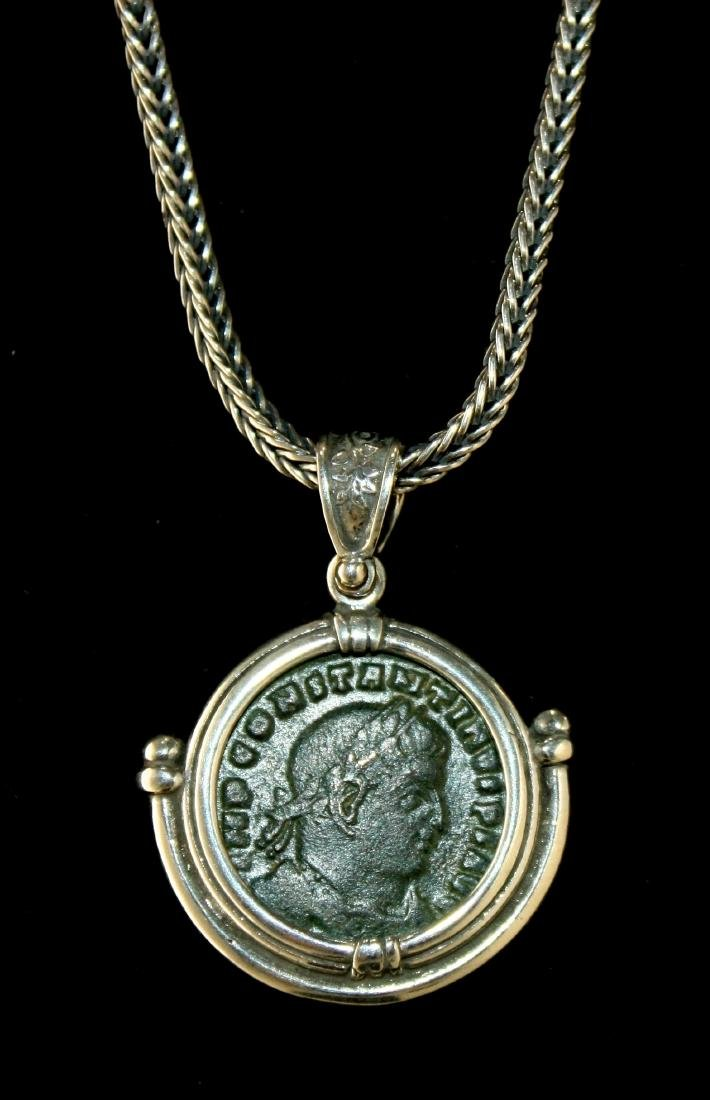 Ancient Roman Constantine Bronze coin set in Necklace