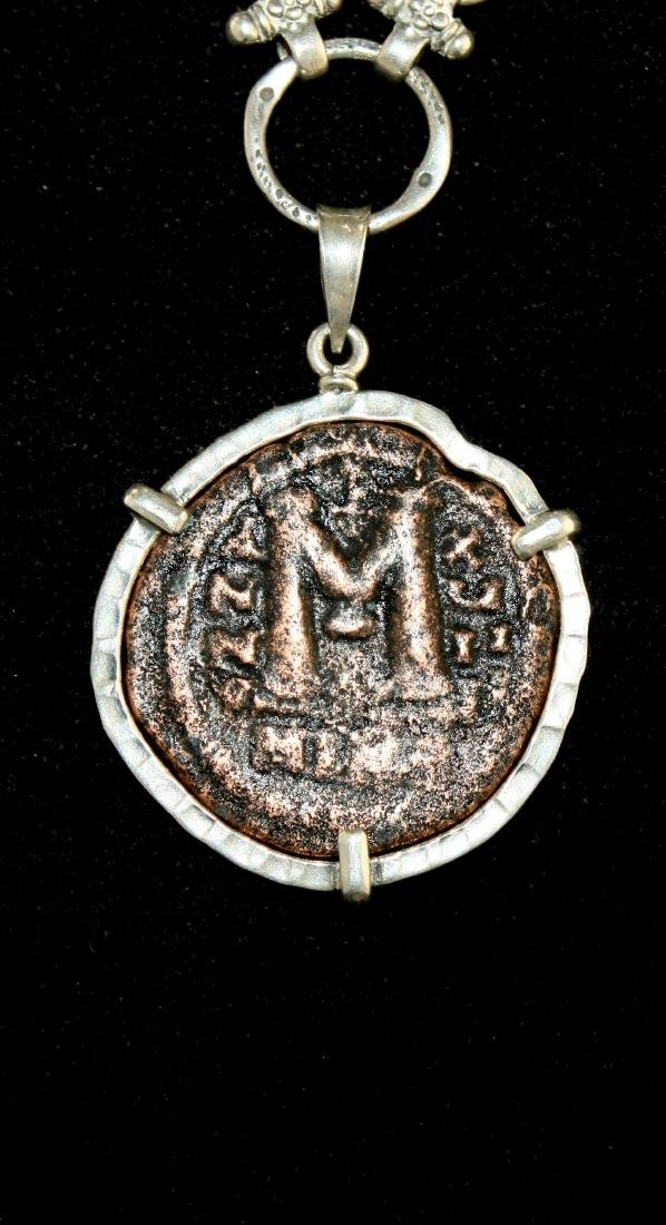 Ancient Byzantine Bronze Coin set in Silver Necklace - 3