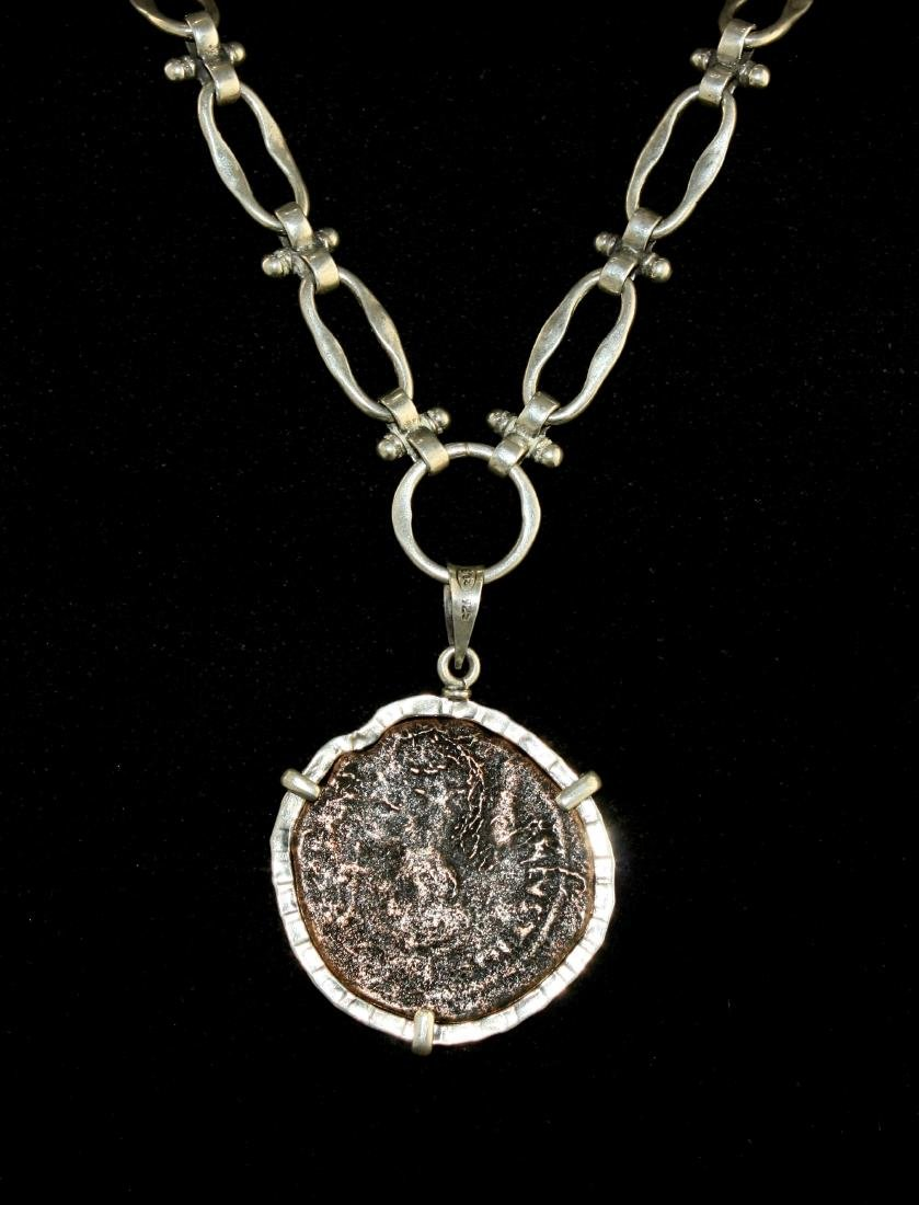 Ancient Byzantine Bronze Coin set in Silver Necklace - 4