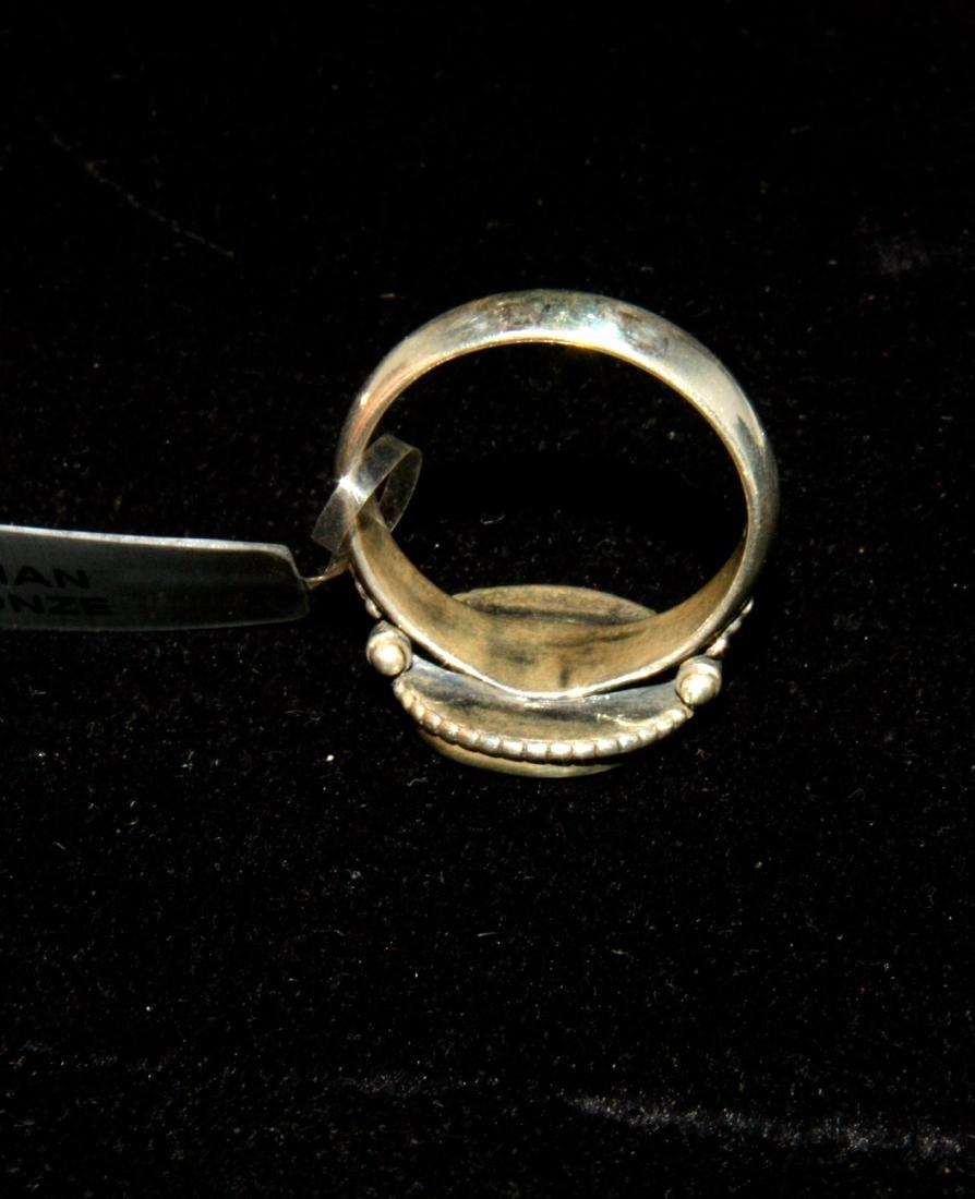 Ancient Roman Constantine Bronze Coin Set SIlver Ring - 2