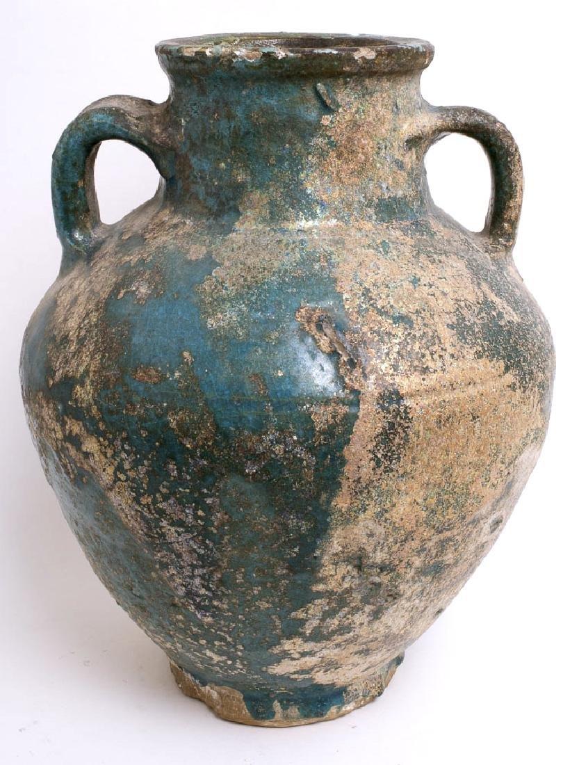 Ancient Persian Kashan Baluster Shape Ceramic Vase