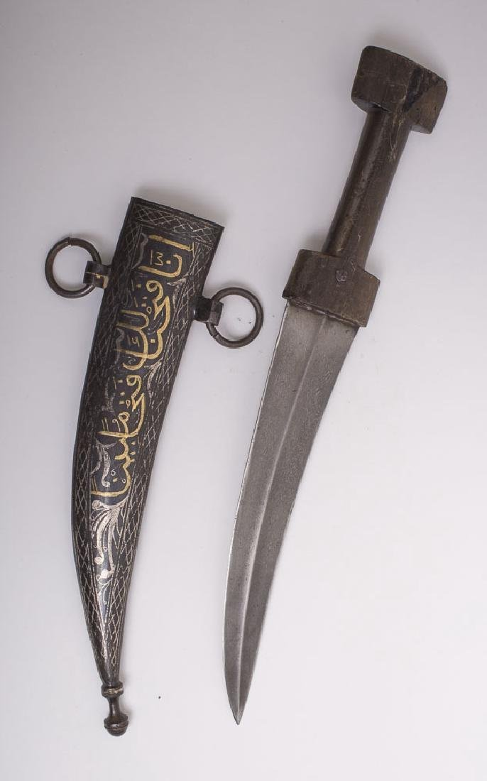 Antique Middle Eastern Steel Dagger with Gold Inlaid - 2