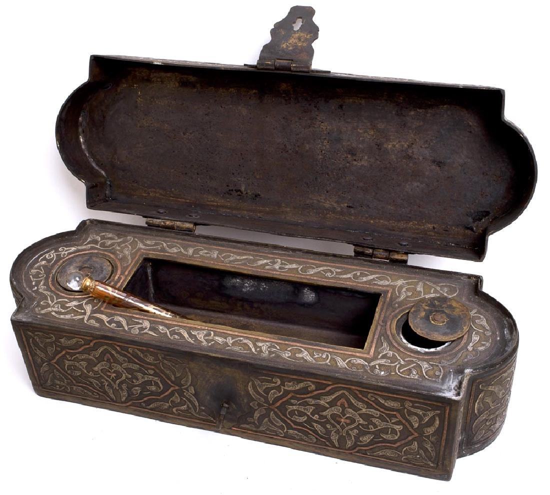 Middle East Islamic Silver Inlaid on Brass Inkwell box - 2