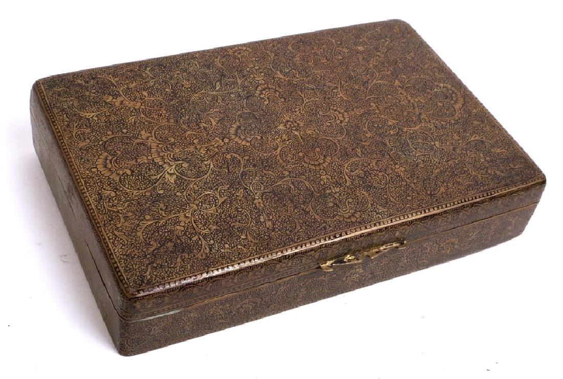 An Indian Kashmir Brass Wood inlay Snuff Box decorated