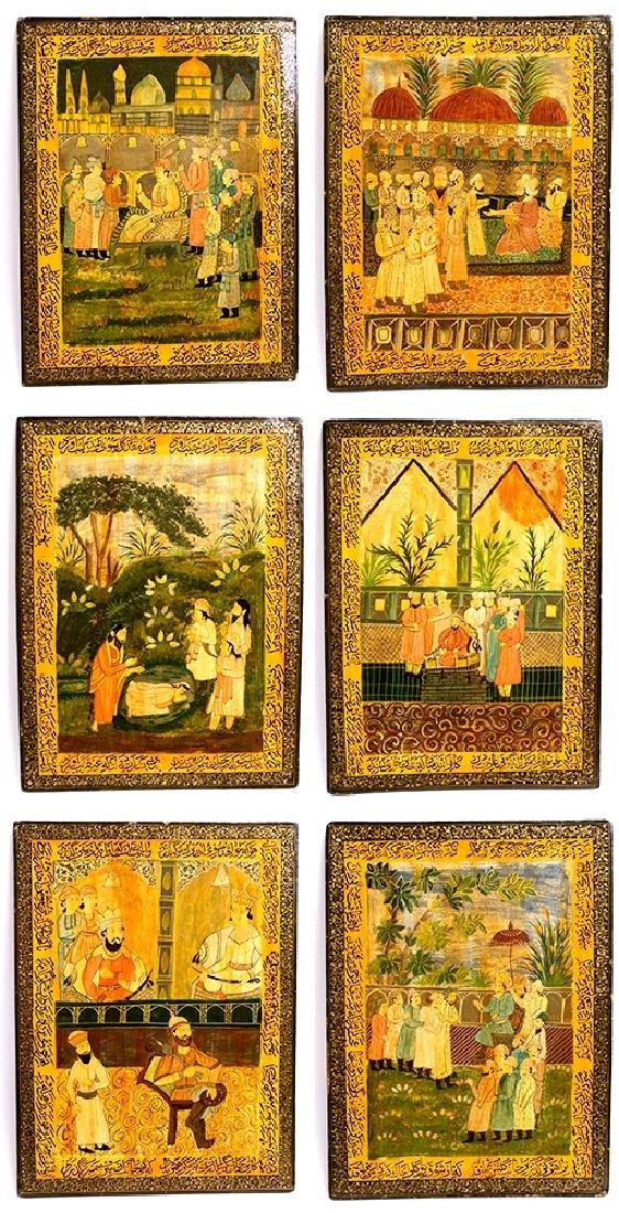 A Set of 6 Persian Qajar Papier Mache Panels c.19th cen