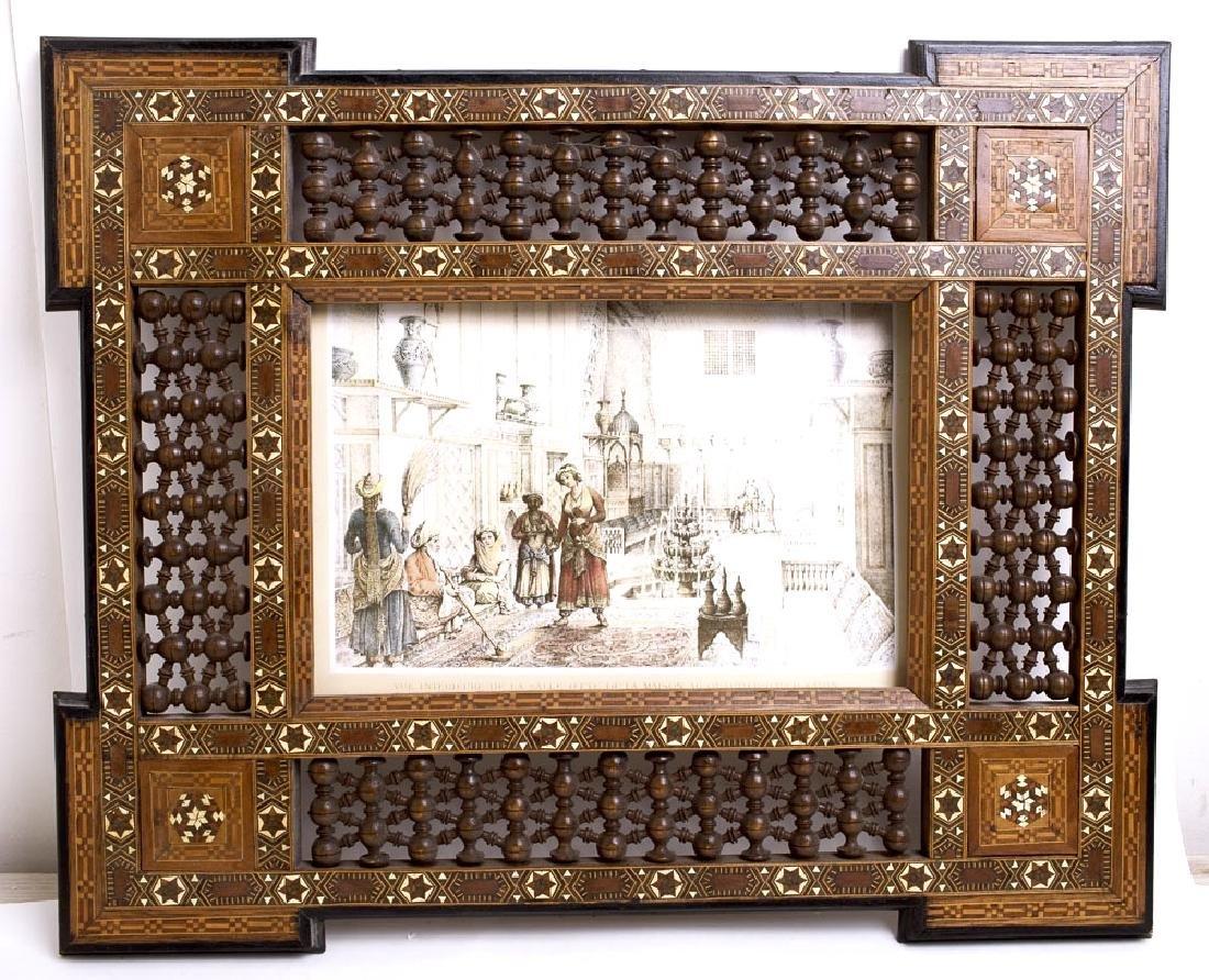 Middle Eastern Moorish Mosaic Inlaid Wood Frame