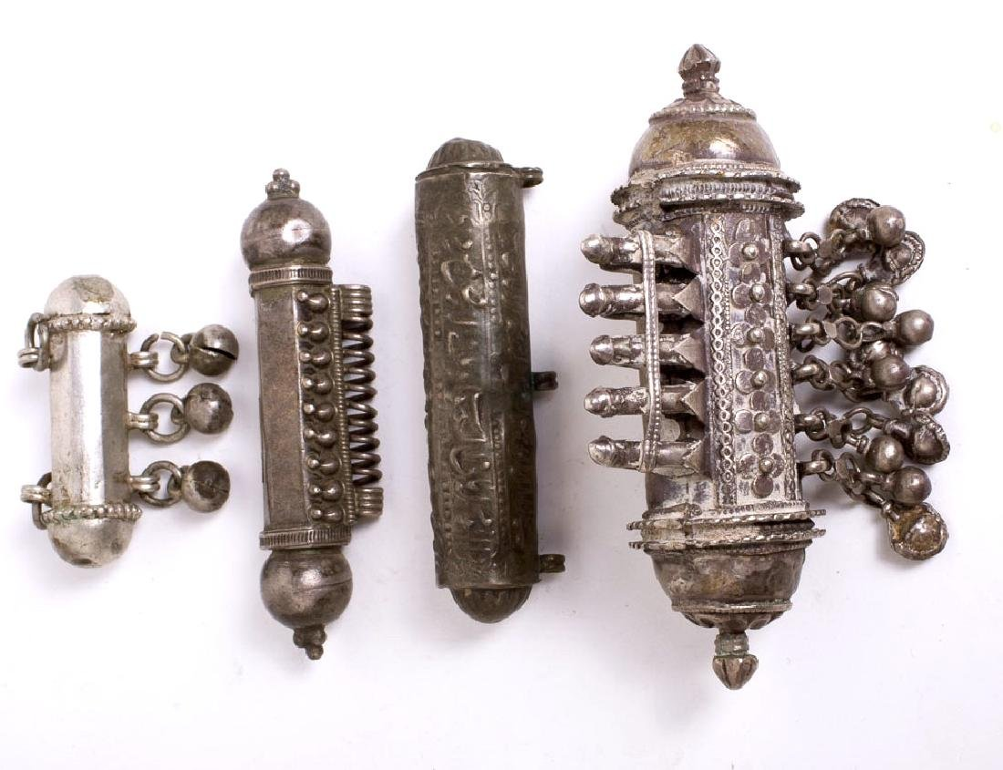 Lot of 4 Eastern Tribal Jewelry Silver Scroll Holders
