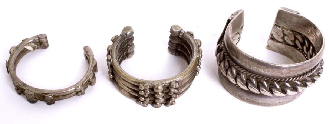 Lot of 3 Eastern Tribal Art Jewelry Silver Bracelets
