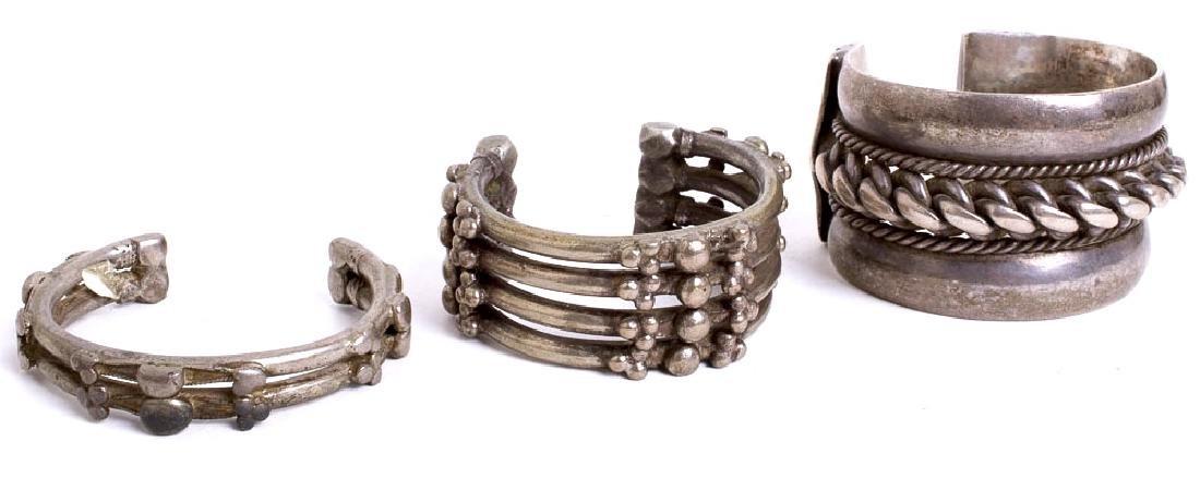 Lot of 3 Eastern Tribal Art Jewelry Silver Bracelets - 2