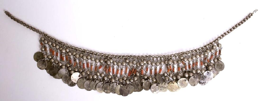Middle Eastern Tribal Art Jewelry Silver Coin Necklace