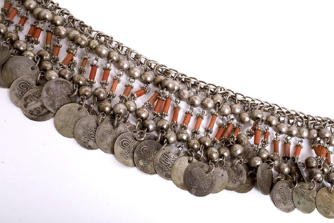 Middle Eastern Tribal Art Jewelry Silver Coin Necklace - 2