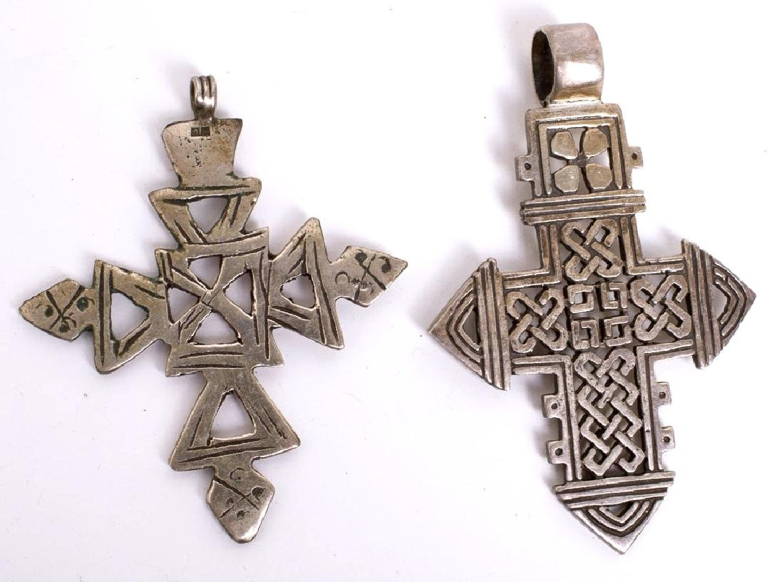 Lot of 2 Ethiopian Silvered Crosses