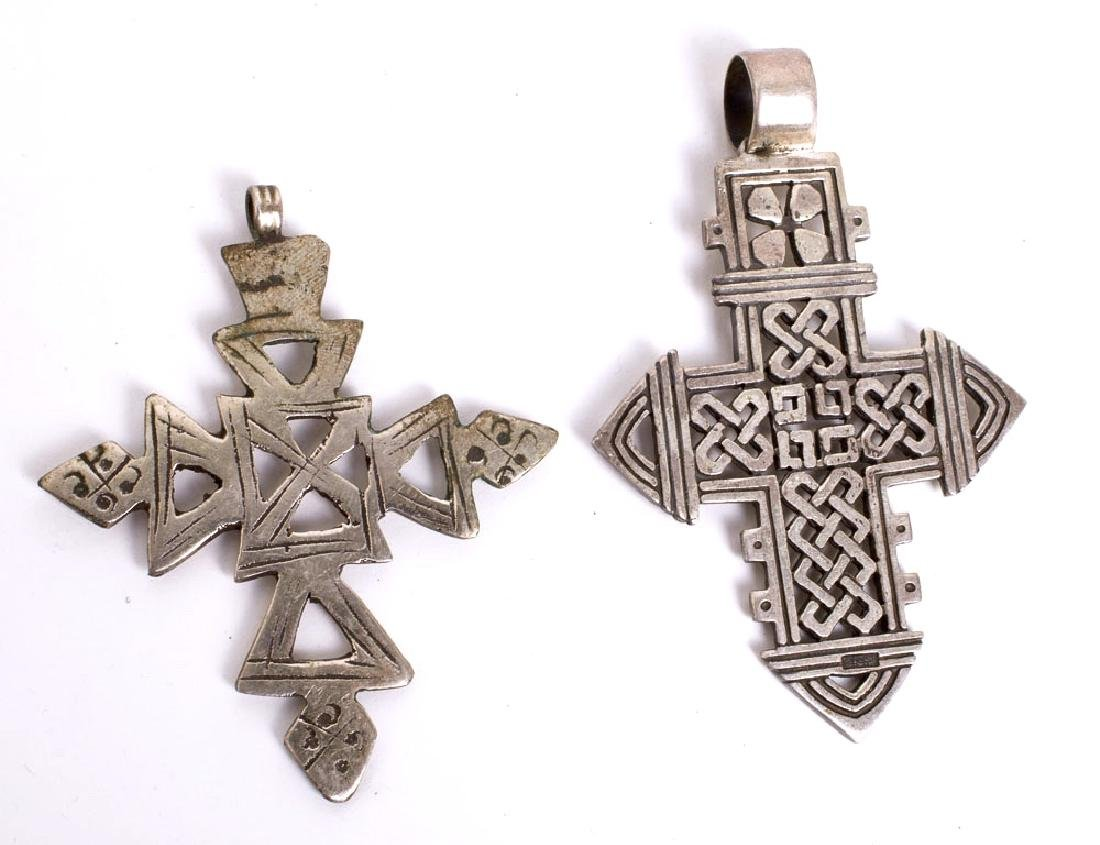 Lot of 2 Ethiopian Silvered Crosses - 2