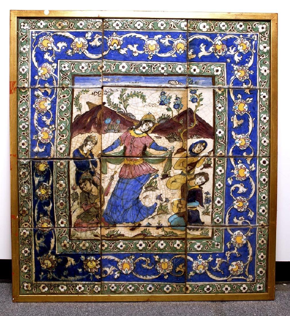 A Set of 12 19th century Persian Qajar Ceramic Tiles