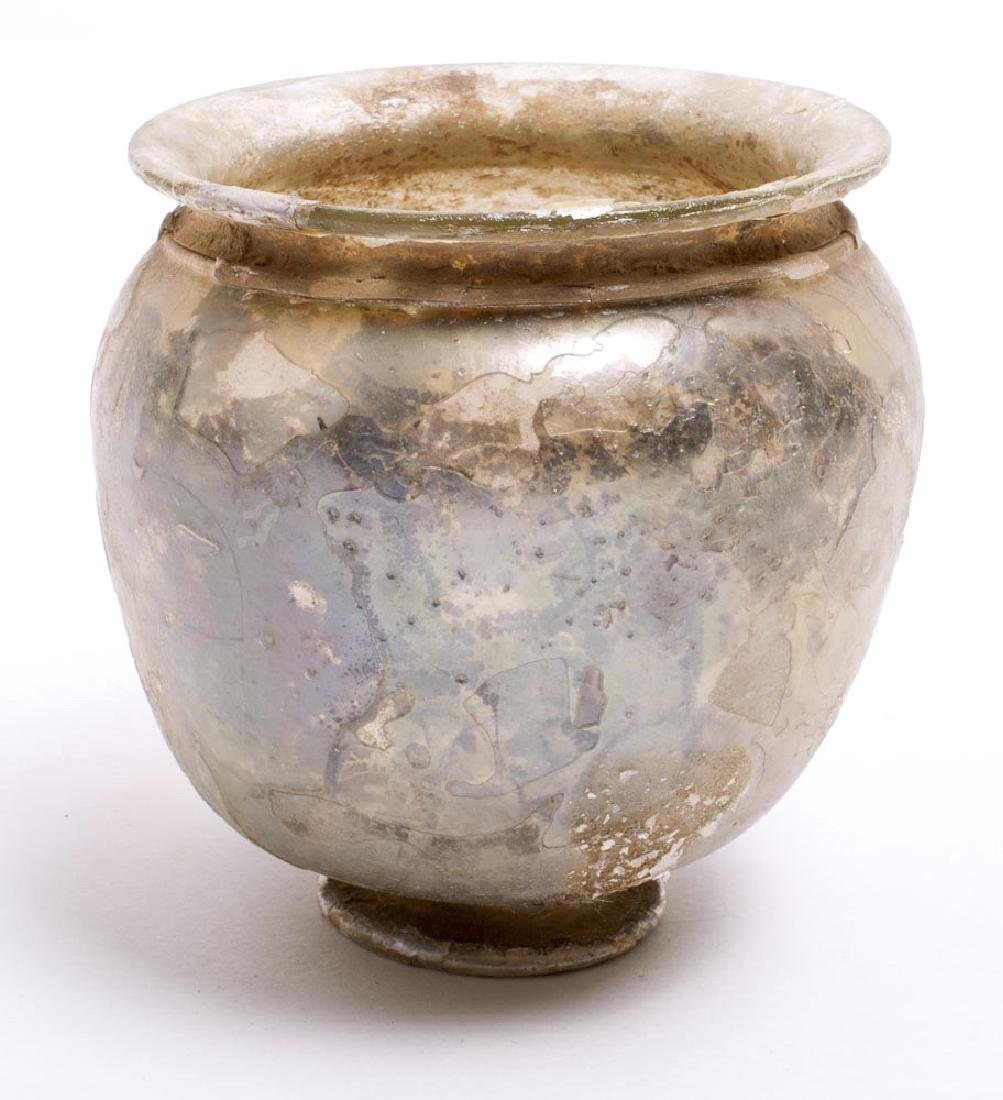 Ancient Roman Footed Glass Jar c.1st-2nd century AD
