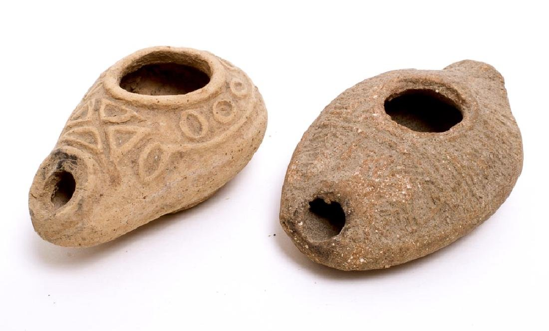 Lot of 2 Ancient Byzantine Terracotta Oil Lamps c.6th c