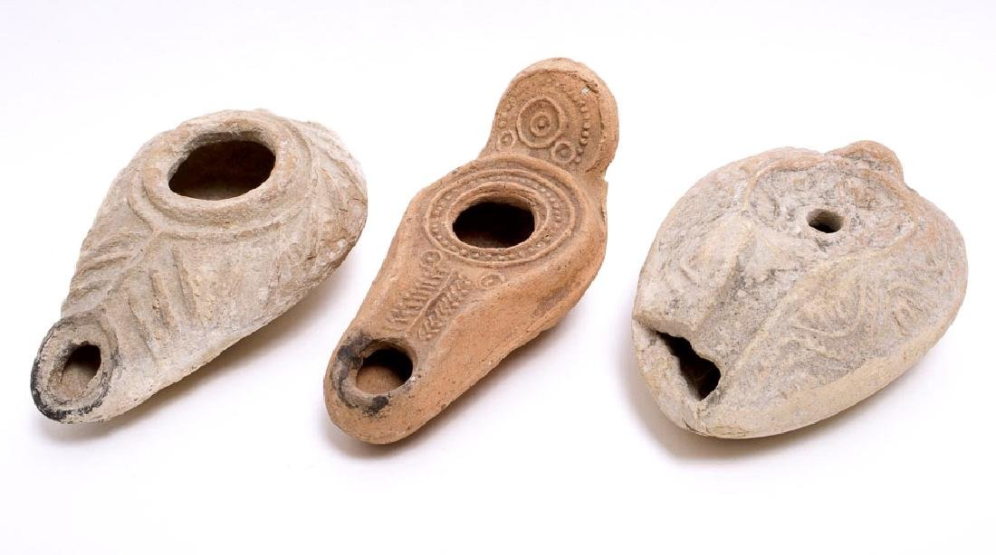 Lot of 3 Ancient Byzantine Terracotta Oil Lamps c.6th c