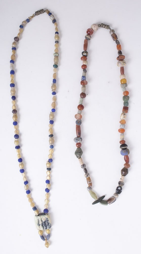 Lot of 2 Ancient Roman Glass Beads Necklaces c.1st-2nd