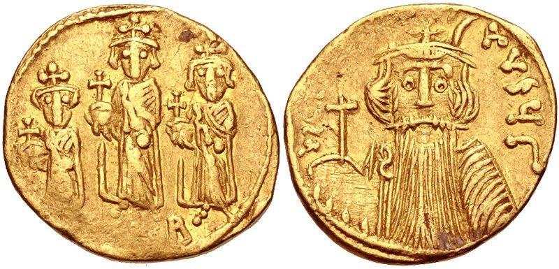 Ancient Byzantine Constans II,Constantine IV AV Solidus