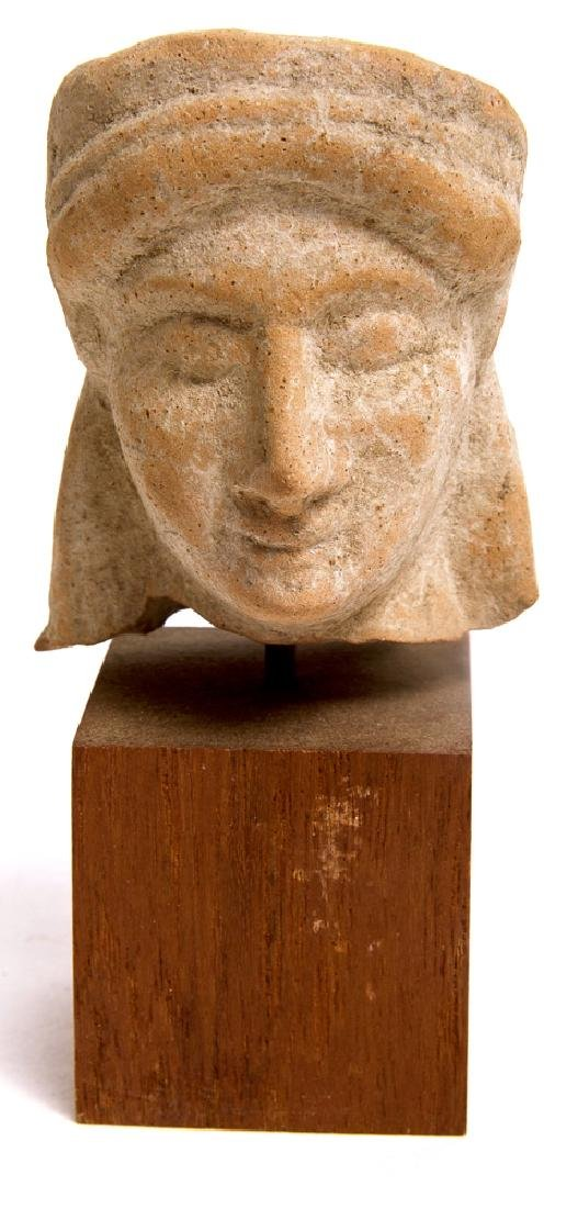 Ancient Greek Terracotta Head of a Youth c.5th cent BC.