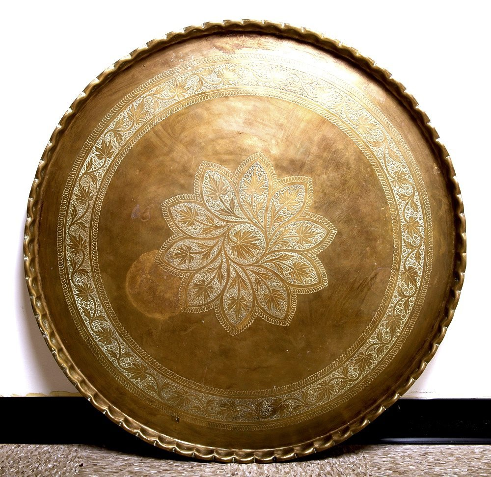A Large Middle Eastern Moroccan Copper Tray with Stand