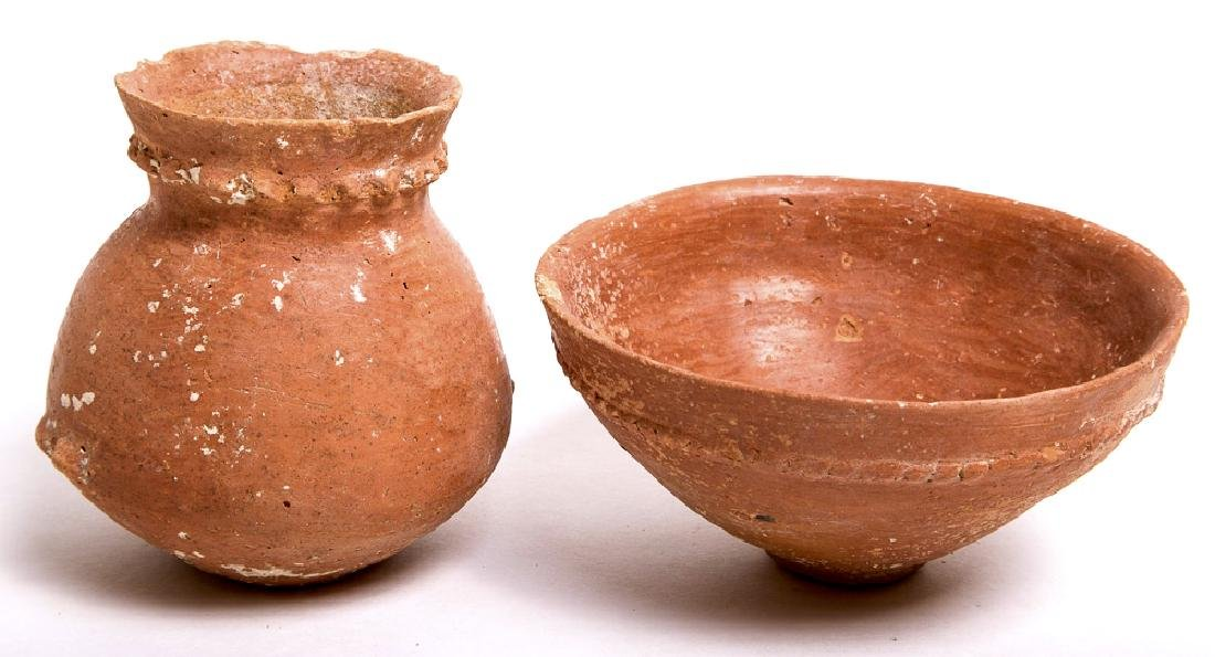 Lot of 2 Holy Land Bronze Age Pottery Bowl/Jar c.2500