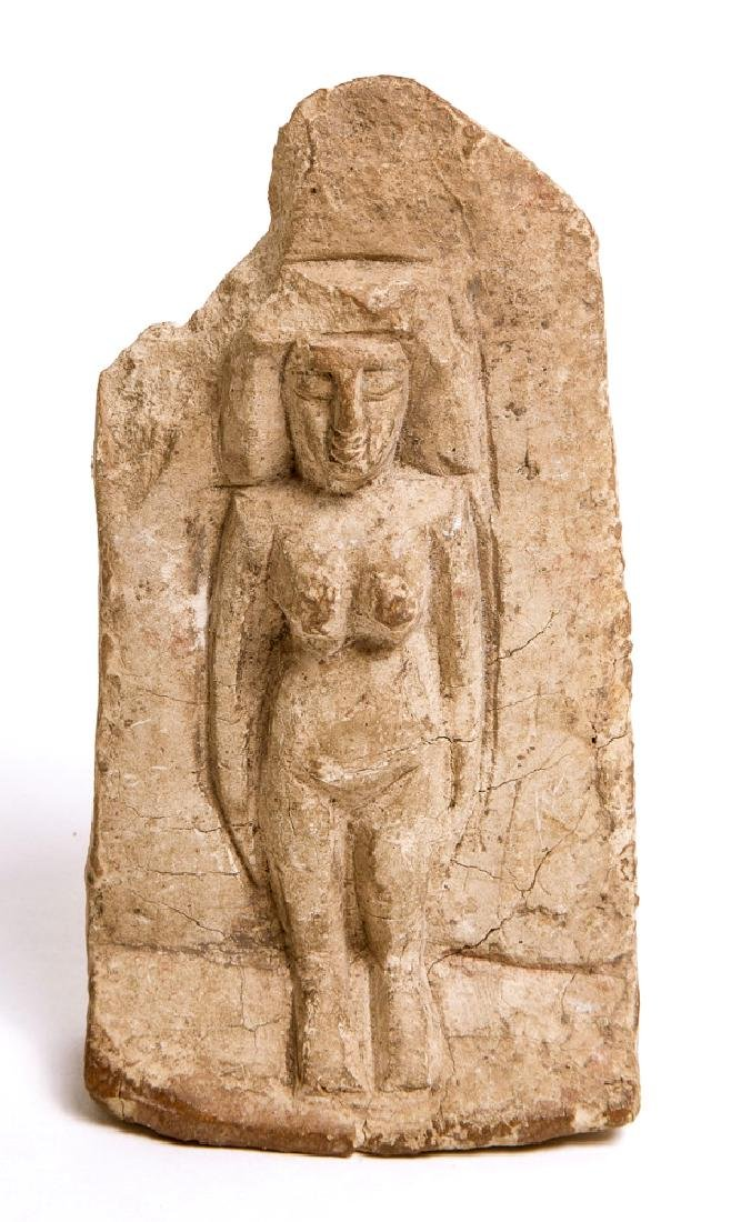 Ancient egyptian Limestone Relief with goddess c.300 BC