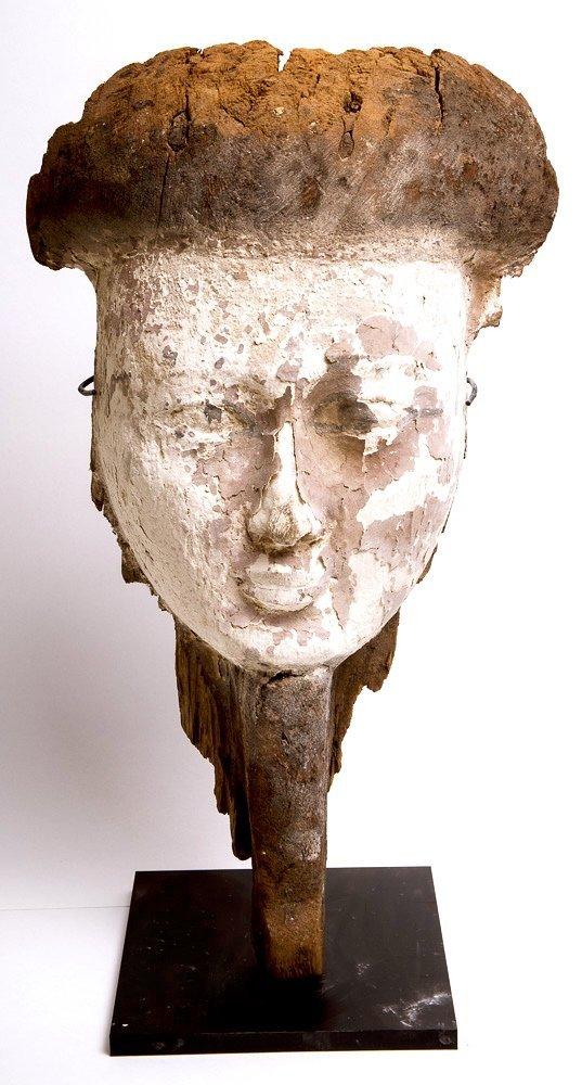 Ancient Egyptian Wood Mummy Bearded Mask c.635 BC.