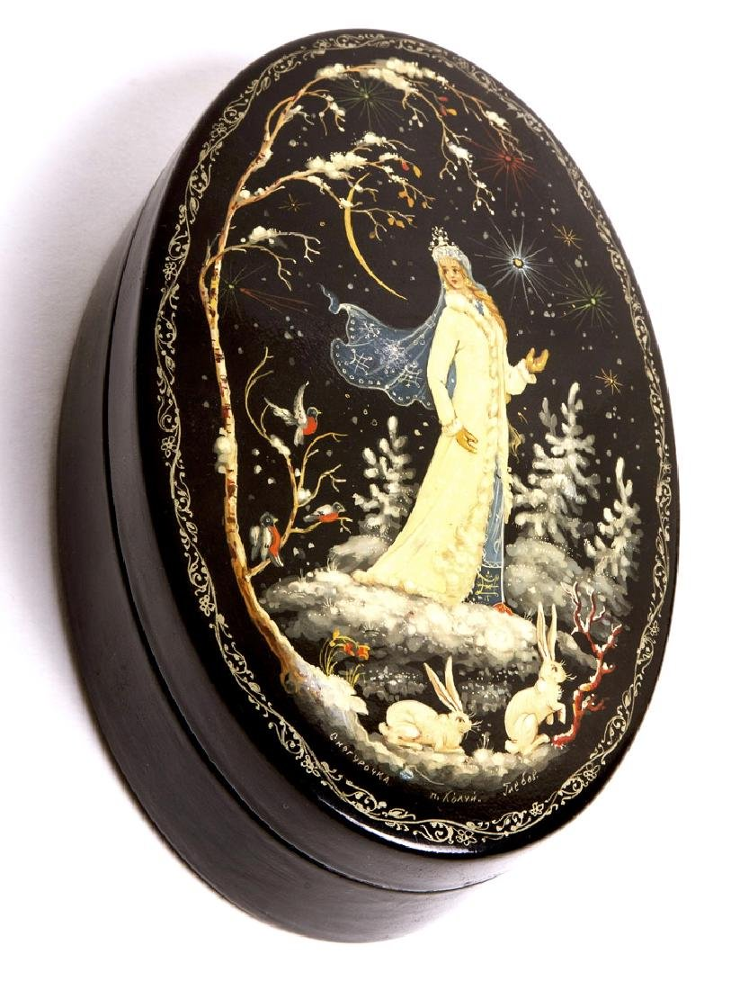 Russian Lacquered wood box with female figure