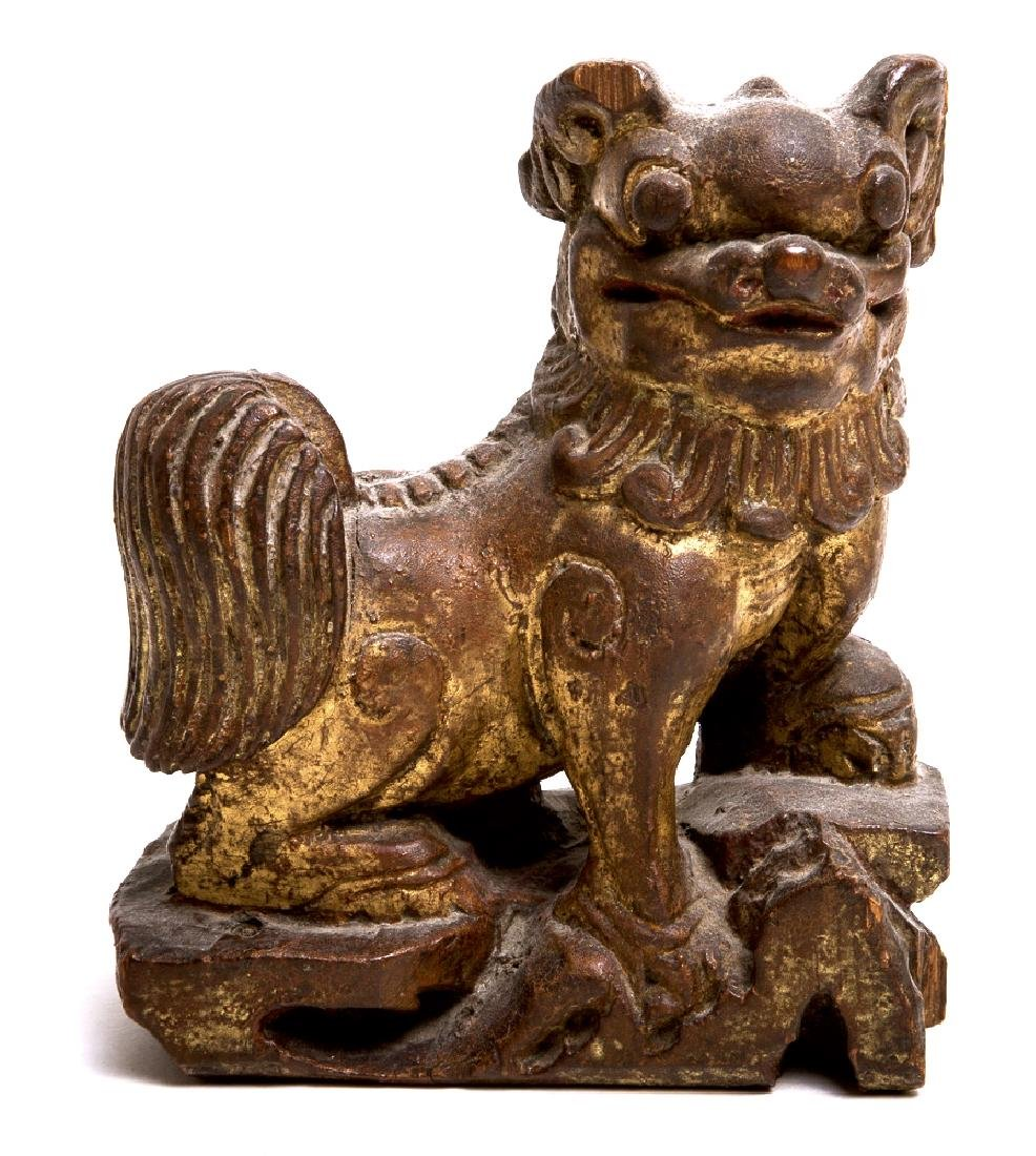 Antique Chinese Gilded Wood Lion Statue