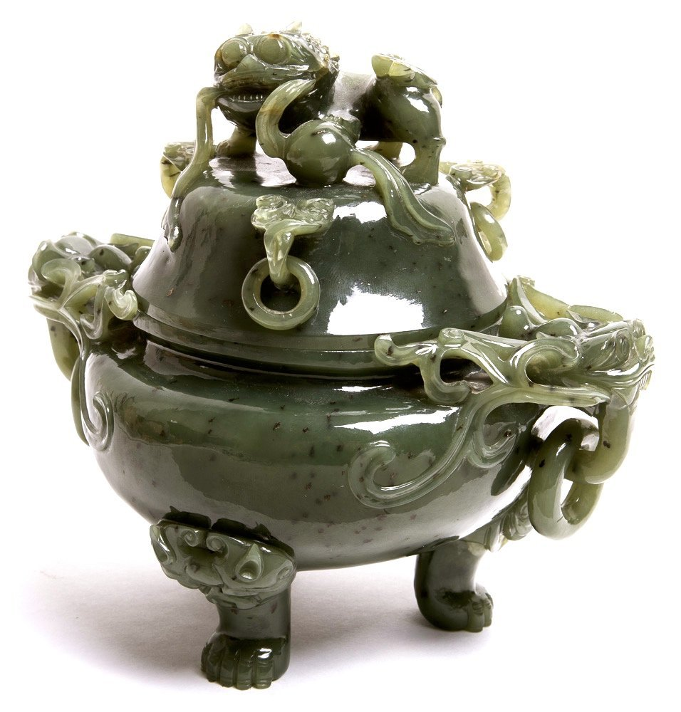 Chinese Jade footed Jar with Dragon Lid