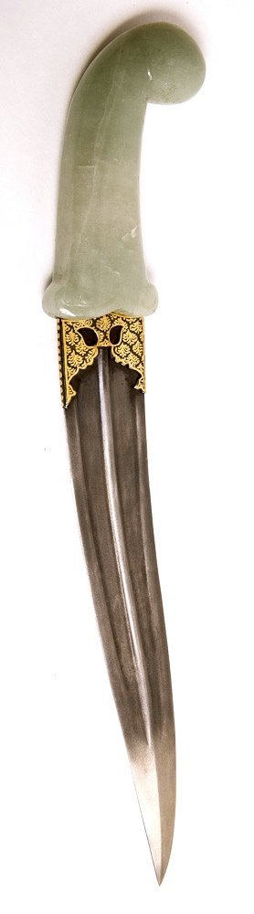 Indian Mughal Style Dagger with Jade Handle