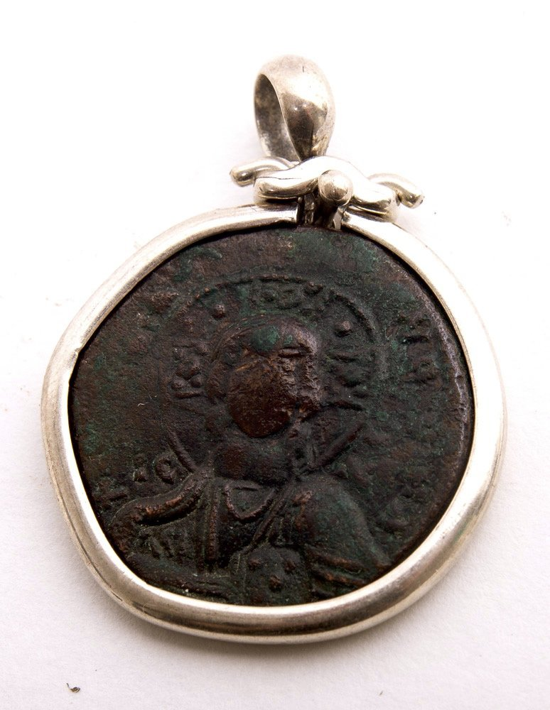 Ancient Byzantine Bronze coin With Christ set in Silver