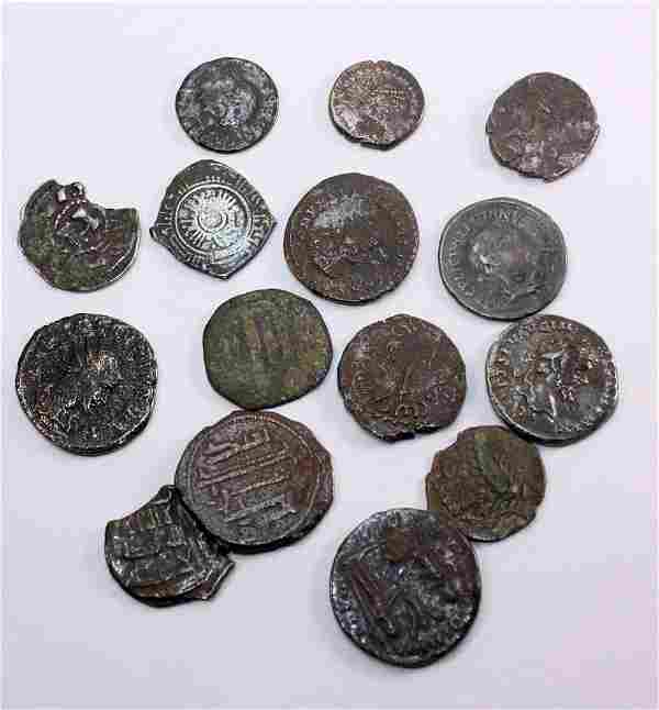 Lot of 15 Ancient Roman and Islamic Coins c.2nd-8th cen