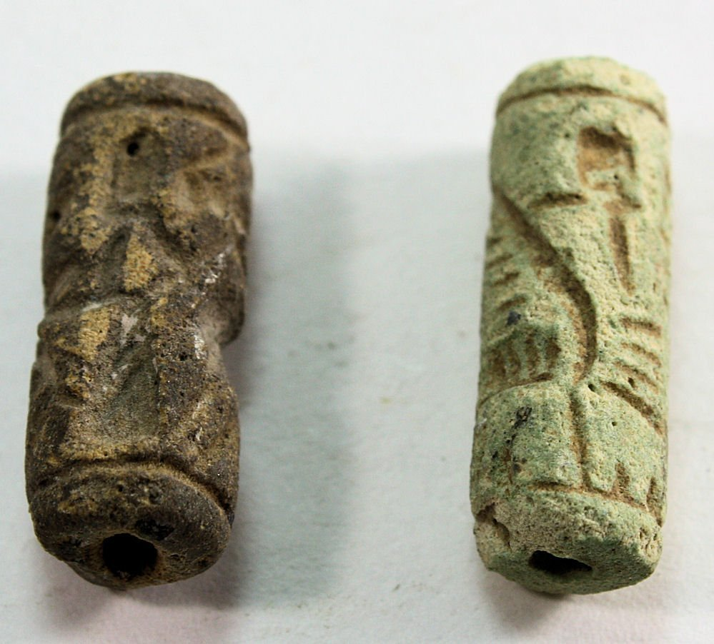 Lot of 2 Ancient Mesopotamian Cylinder Seals c.650 BC.