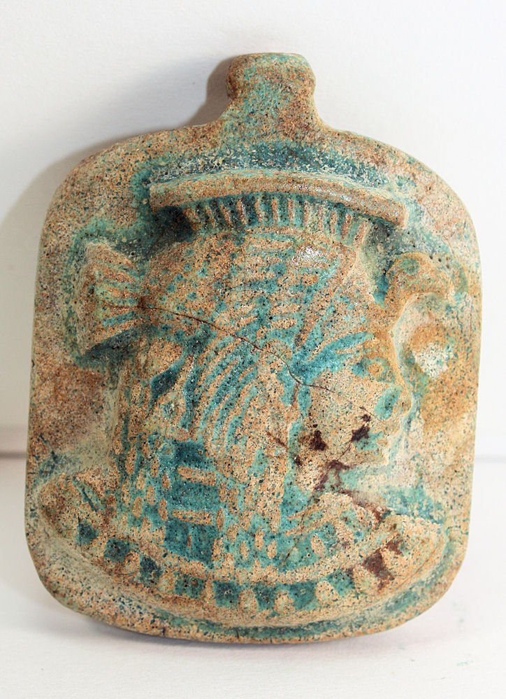Egyptian Style Faience Amulet with facing figure right