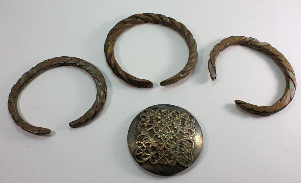 Lot of 3 Islamic Copper Bracelet. Buckle c.12th-19th ce