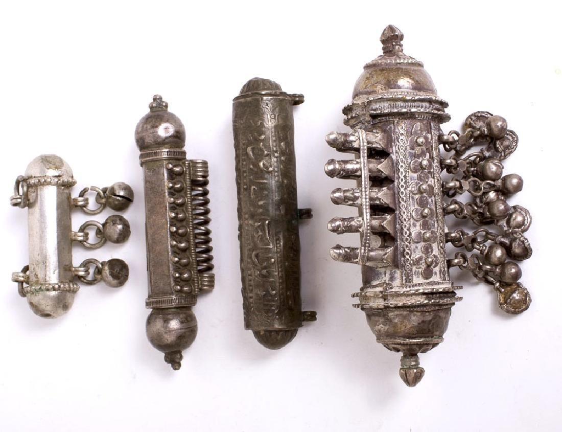 Lot of 4 Eastern Tribal Jewelry Silver Scroll Holders.
