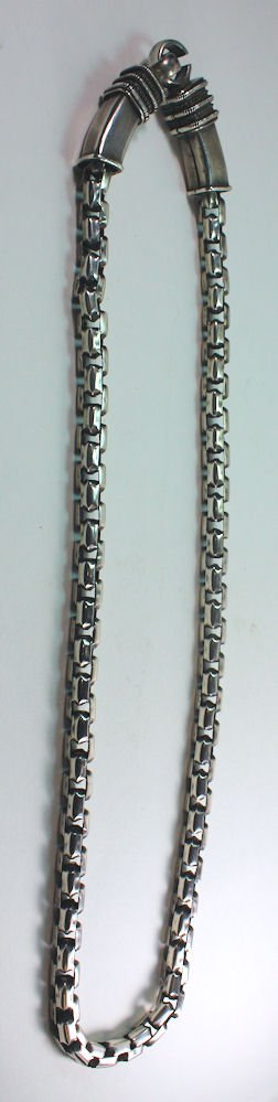 Antique Indian Silver Chain Necklace. Size 31 inches L