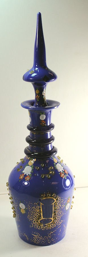 Antique Bohemian Blue Glass Decanter Made for Islamic