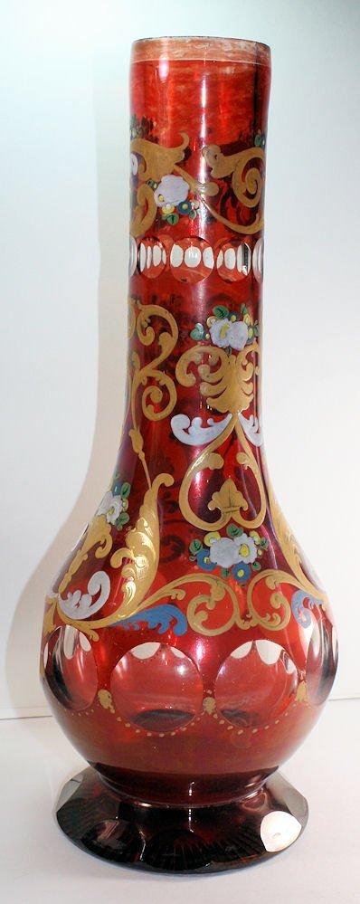 Bohemian Red Glass Hookah Base Made for Islamic