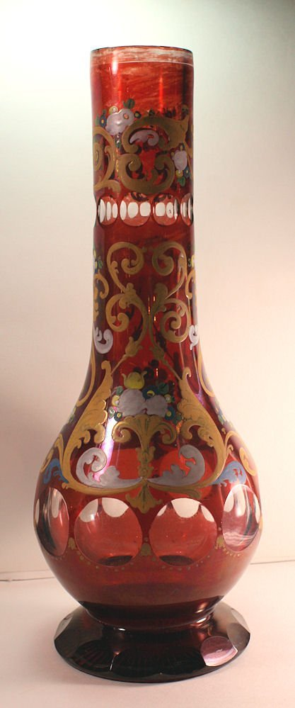 Bohemian Red Glass Hookah Base Made for Islamic - 3